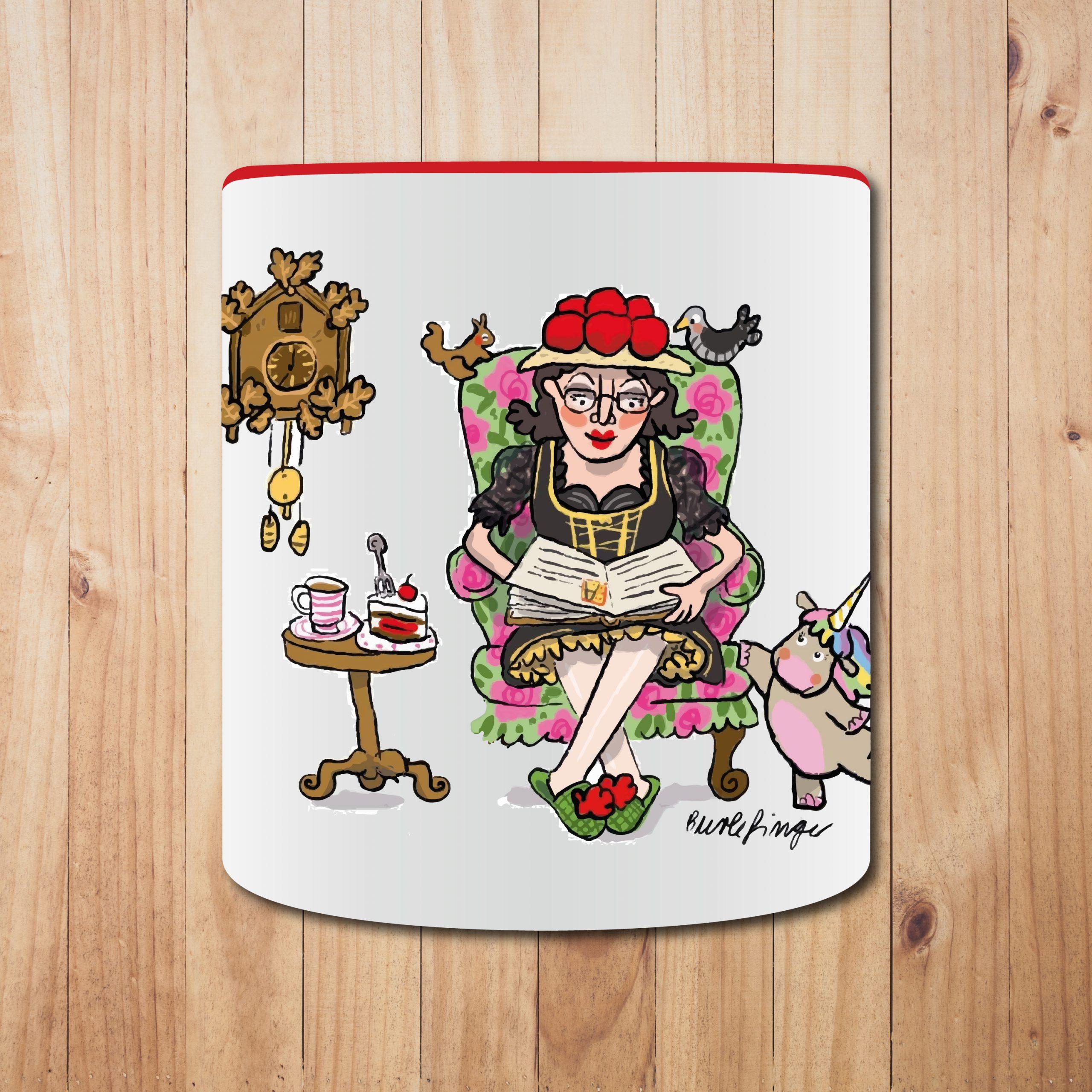 """Original Betty BBQ Tasse, Motiv """"s'Lieblings-Tässle"""", Ausführung Rot"""
